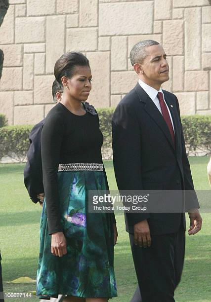 President Barack Obama and his wife Michelle Obama visit Mahatma Gandhi's memorial Rajghat and pay tribute to the father of the nation on Monday...