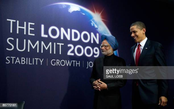 US President Barack Obama and Indian Prime Minister Manmohan Singh are pictured prior to a meeting on the sideline of the G20 Summit at the ExCel...