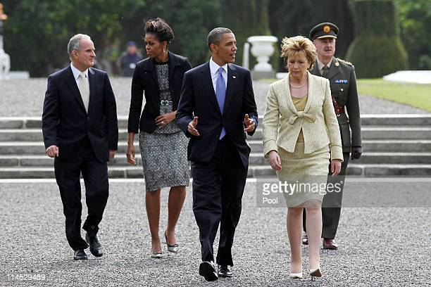 President Barack Obama and Irish President Mary McAleese depart Aras an Uachtarain, the official residence of the President of Ireland, ahead of Dr....