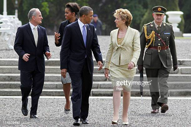 S President Barack Obama and Irish President Mary McAleese depart Aras an Uachtarain the official residence of the President of Ireland ahead of Dr...