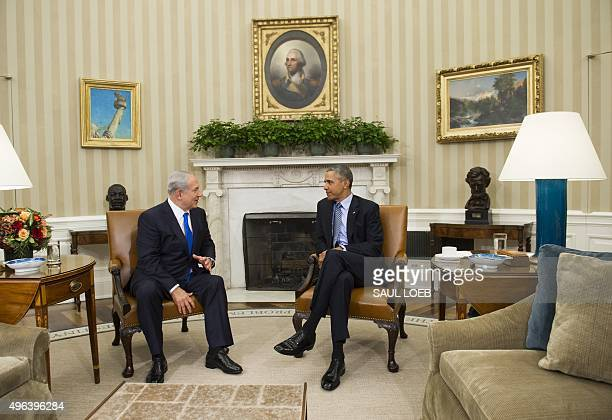 US President Barack Obama and Israeli Prime Minister Benjamin Netanyahu hold a meeting in the Oval Office of the White House in Washington DC...