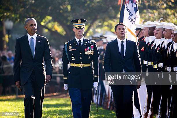President Barack Obama and Italian Prime Minister Matteo Renzi participate in an official arrival ceremony on the South Lawn of the White House on...