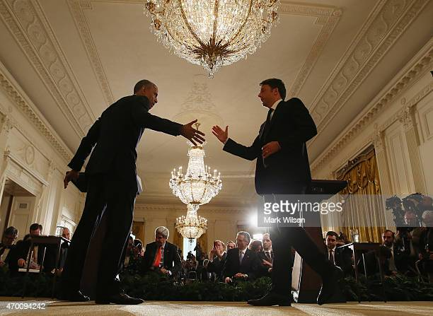 President Barack Obama and Italian Prime Minister Matteo Renzi shake hands at the end of a news conference at the White House April 17 2015 in...