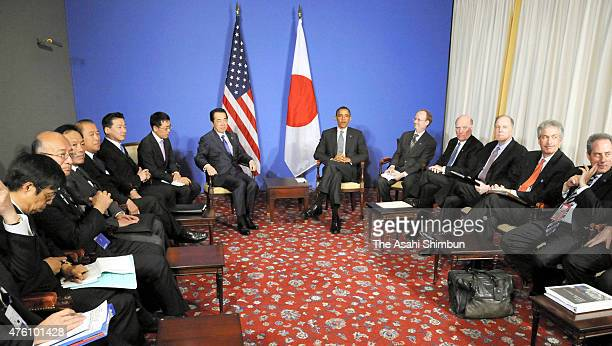 US President Barack Obama and Japanese Prime Minister Naoto Kan talk during their bilateral meeting on the sidelines of the G8 summit on May 26 2011...