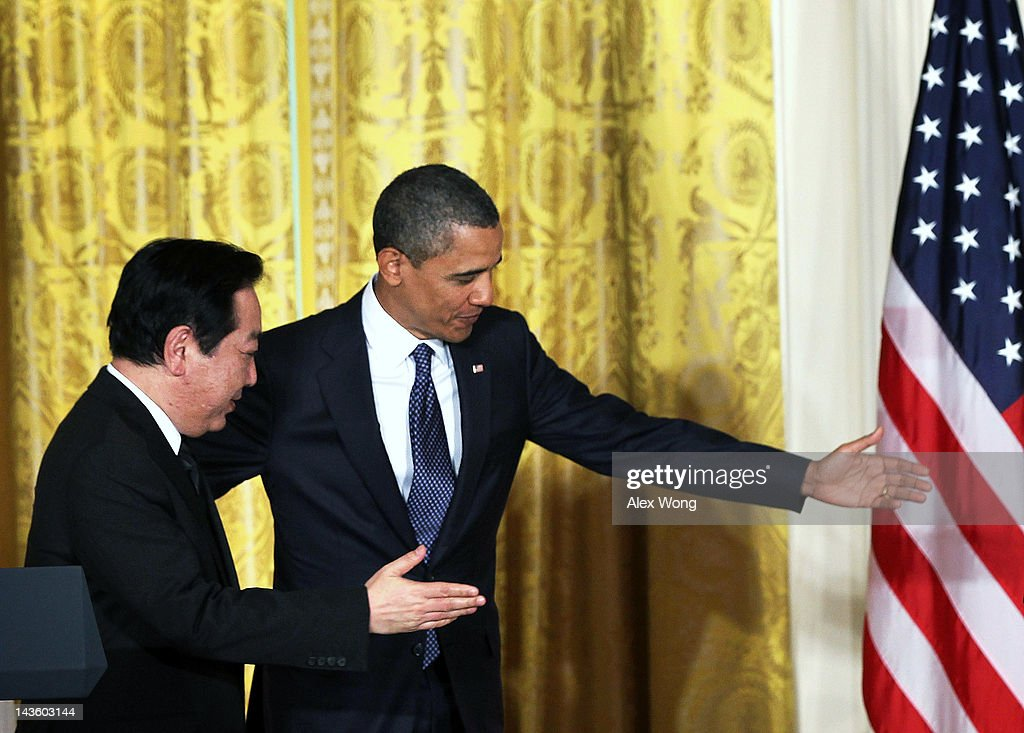 U.S. President Barack Obama (R) and Japanese Prime Minister Yoshihiko Noda (L) leave after a press conference at the East Room of the White House April 30, 2012 in Washington, DC. Obama met with Noda to discuss a wide range of bilateral, regional and global issues, according to a White House news release.