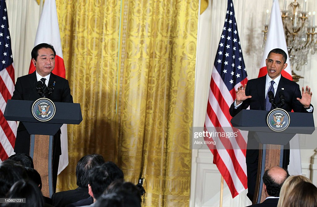 U.S. President Barack Obama (R) and Japanese Prime Minister Yoshihiko Noda participate in a press conference at the East Room of the White House April 30, 2012 in Washington, DC. Obama met with Noda to discuss a wide range of bilateral, regional and global issues, according to a White House news release.