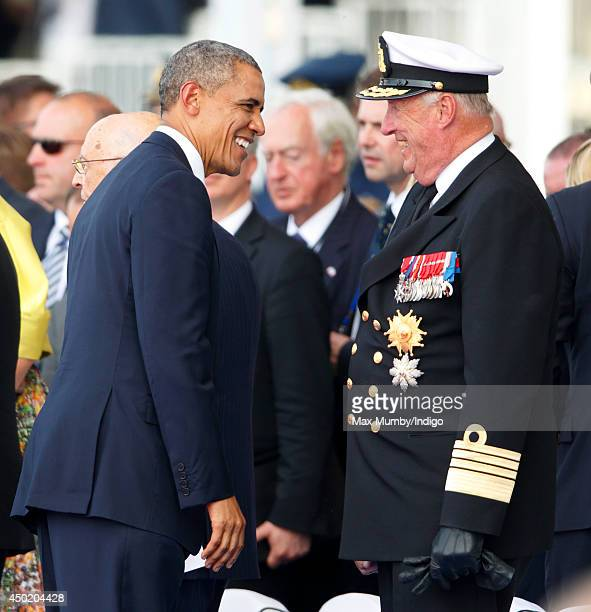 President Barack Obama and King Harald of Norway attend the International Ceremony at Sword Beach to commemorate the 70th anniversary of the D-Day...