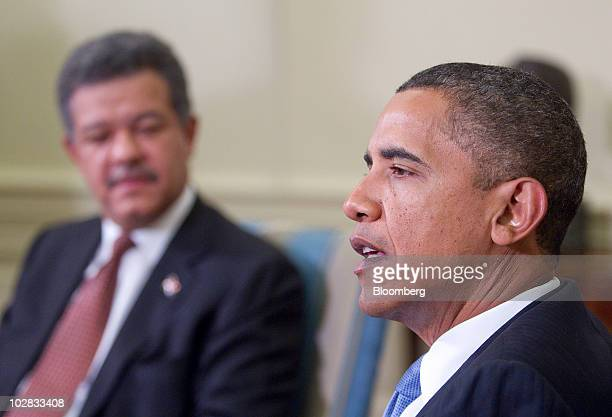US President Barack Obama and Leonel Fernandez president of the Dominican Republic speak after a bilateral meeting in the Oval Office of the White...