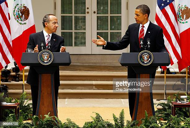 S President Barack Obama and Mexican President Felipe Calderon hold a joint press conference in the Rose Garden at the White House May 19 2010 in...