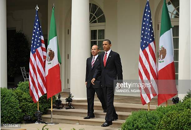 US President Barack Obama and Mexico�s President Felipe Calderón make their way May 19 2010 for a joint press conference in the Rose Garden of the...