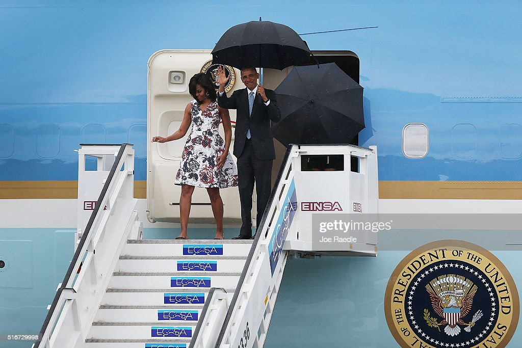 U.S. President Barack Obama and Michelle Obama arrive at Jose Marti International Airport on Airforce One for a 48-hour visit on March 20, 2016 in Havana, Cuba. Mr. Obama's visit is the first in nearly 90 years for a sitting president, the last one being Calvin Coolidge.