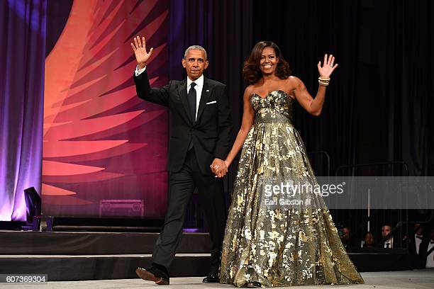 President Barack Obama and Michelle Obama arrive at the Phoenix Awards Dinner at Walter E Washington Convention Center on September 17 2016 in...