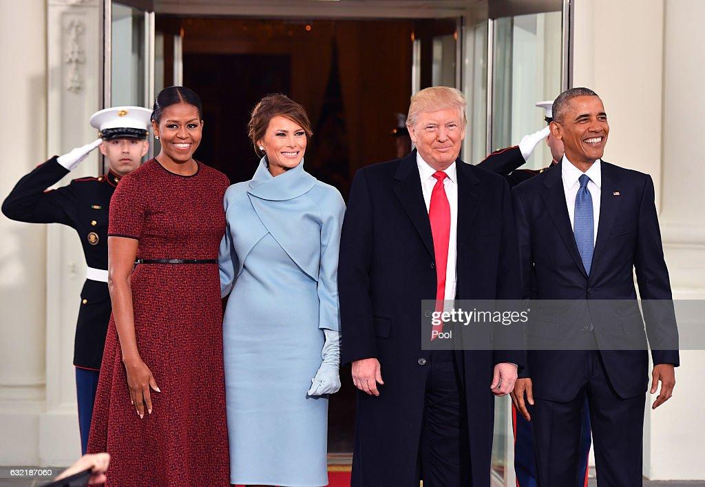 Donald And Melania Trump Arrive At White House Ahead Of Inauguration : News Photo