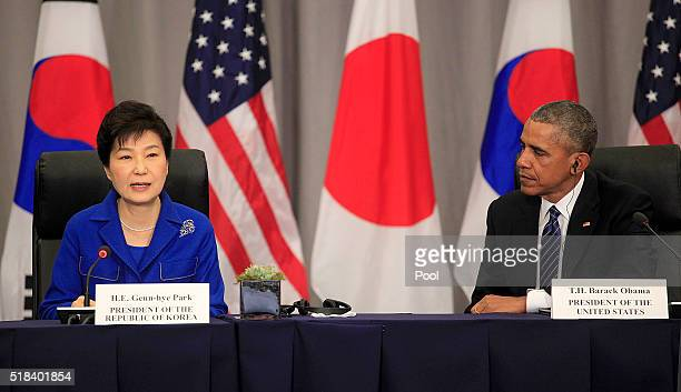President Barack Obama and President Geun-hye of South Korea attend a meeting at the Nuclear Security Summit March 31, 2016 in Washington, DC. World...