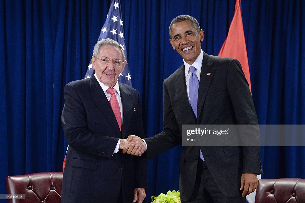 U.S. President Barack Obama (R) and President Raul Castro (L) of Cuba shake hands during a bilateral meeting at the United Nations Headquarters on September 29, 2015 in New York City. Castro and Obama are in New York City to attend the 70th anniversary general assembly meetings.