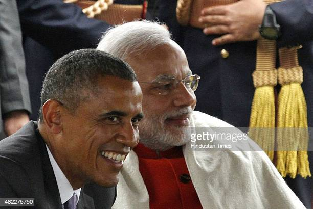 S President Barack Obama and Prime Minister Narendra Modi At Home Reception with several hundred political and cultural figures at the Rashtrapati...