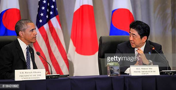President Barack Obama and Prime Minister Shinzo Abe of Japan attend a meeting at the Nuclear Security Summit March 31, 2016 in Washington, DC. World...