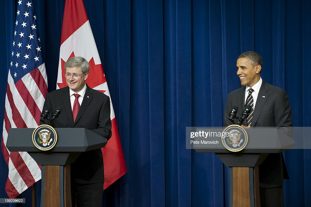President Obama Meets With Canadian Prime Minister Stephen Harper At The White House