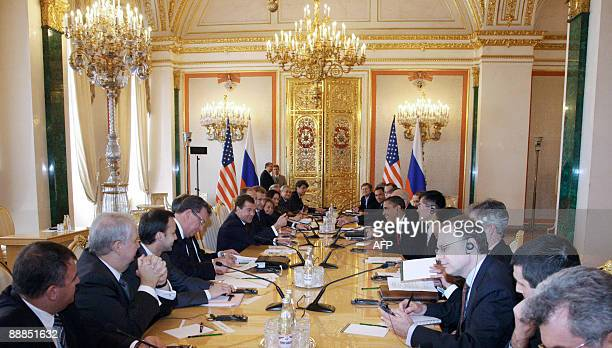 US President Barack Obama and Russian President Dmitry Medvedev hold talks at the Kremlin in Moscow on July 6 2009 The United States and Russia...