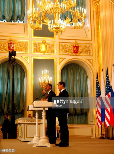 S President Barack Obama and Russian President Dmitry Medvedev hold their press conference after the signing ceremony of the Joint Understanding on...