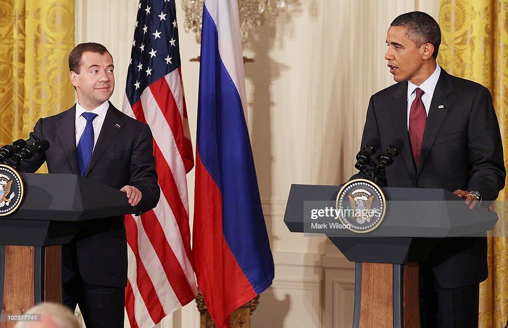 U.S. President Barack Obama (L) and Russian President Dmitry Medvedev participate in a news conference in the East Room at the White House on June 24, 2010 in Washington, DC. The two leaders met briefly in the Oval Office earlier and then President Obama treated the president to lunch at Ray's Hell Burger in Arlington, Virginia.