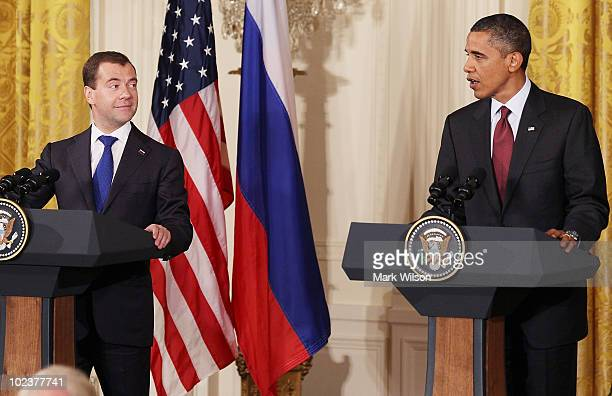 S President Barack Obama and Russian President Dmitry Medvedev participate in a news conference in the East Room at the White House on June 24 2010...