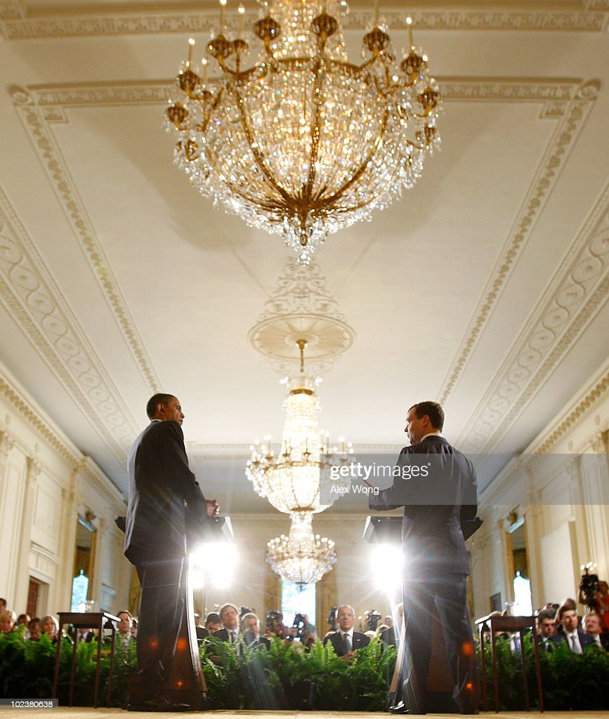 U.S. President Barack Obama (L) and Russian President Dmitry Medvedev participate in a news conference June 24, 2010 at the East Room of the White House in Washington, DC. The leaders met earlier and were expected to discuss trade and investment between the two countries.