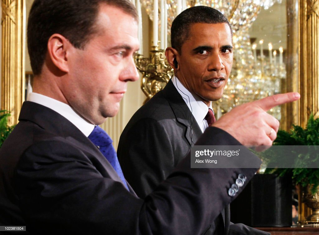 U.S. President Barack Obama (R) and Russian President Dmitry Medvedev participate in a news conference June 24, 2010 at the East Room of the White House in Washington, DC. The leaders met earlier and were expected to discuss trade and investment between the two countries.