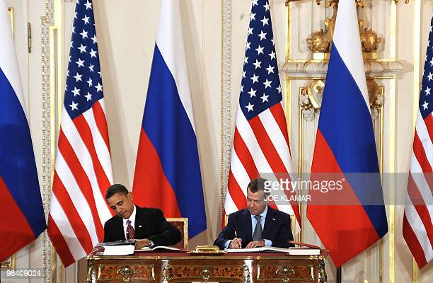 US President Barack Obama and Russian President Dmitry Medvedev sign the new Strategic Arms Reduction Treaty in Prague on April 8 2010 Obama and...