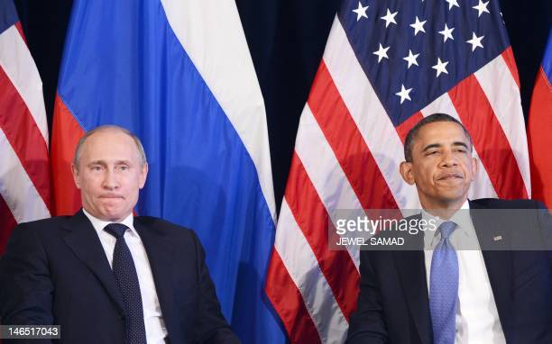 US President Barack Obama and Russian President Vladimir Putin hold a bilateral meeting in Los Cabos Mexico on June 18 2012 on the sidelines of the...
