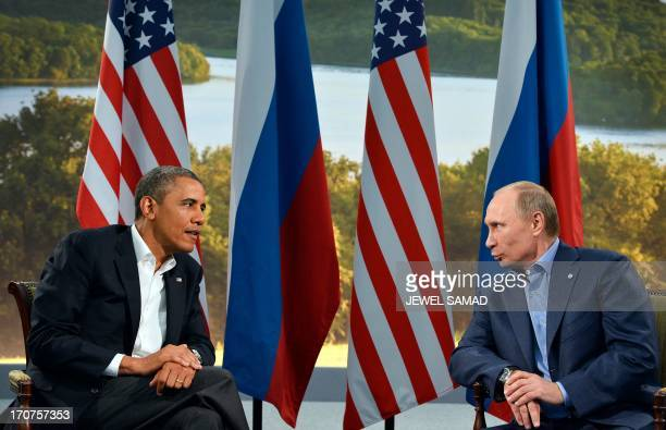 US President Barack Obama and Russian President Vladimir Putin hold a bilateral meeting on the sidelines of the G8 summit at the Lough Erne resort...