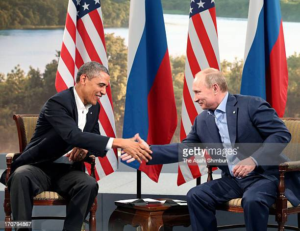 US President Barack Obama and Russian President Vladimir Putin hold their bilateral meeting on the sidelines of the G8 Summit on June 17 2013 in...