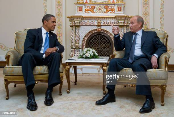 US President Barack Obama and Russian Prime Minister Vladimir Putin meet at the latter's country residence home in Novo Ogaryovo near Moscow on July...