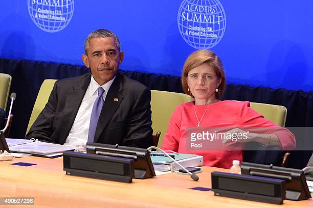 US President Barack Obama and Samantha Power United States Ambassador to the United Nations attend the Leader's Summit on Countering ISIL and...