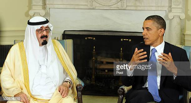 S President Barack Obama and Saudi Arabian King Abdullah BinAbdalAziz Al Saud speak to the media after their meeting in the Oval Office of the White...