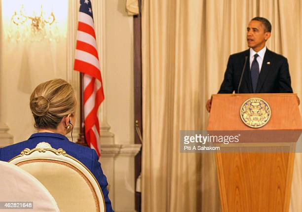 President Barack Obama and Secretary of State Hilary Klinton during a joint press conference following their bilateral meeting at the Thai Government...