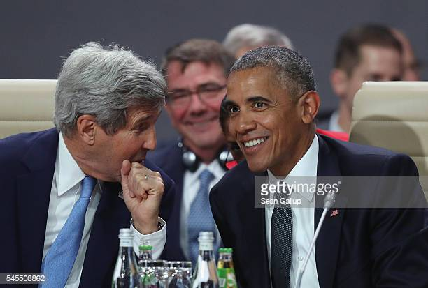S President Barack Obama and Secretary of State John Kerry attend the meeting of the North Atlantic Council at the Warsaw NATO Summit on July 8 2016...