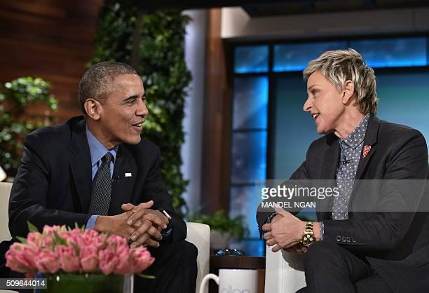 President Barack Obama and talk show host Ellen DeGeneres are seen during a break in the taping of The Ellen DeGeneres show at Warner Brothers...