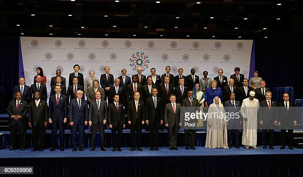 US President Barack Obama and United Nations Secretary General Ban Kimoon pose with world leaders during the United Nations 71st session of the...