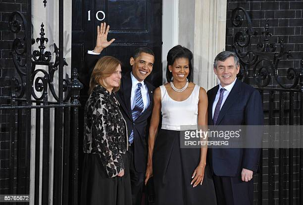 US President Barack Obama and US First Lady Michelle Obama are greeted by British Prime Minister Gordon Brown and his wife Sarah as they arrive at 10...