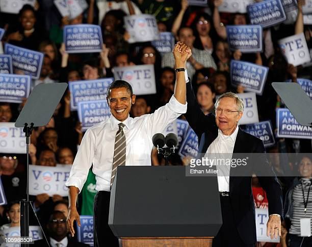 S President Barack Obama and US Senate Majority Leader Harry Reid appear at a campaign rally at Orr Middle School Park October 22 2010 in Las Vegas...