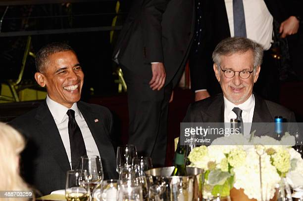 President Barack Obama and USC Shoah Foundation Honorary Chair Steven Spielberg attend USC Shoah Foundation's 20th Anniversary Gala at the Hyatt...