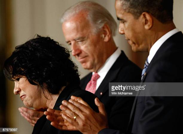 S President Barack Obama and Vice President Joe Biden applaud United States Court of Appeals for the Second Circuit Judge Sonia Sotomayor of New York...