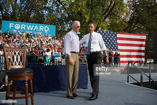 US President Barack Obama and Vice President Joe Biden during a campaign rally in Dayton Ohio