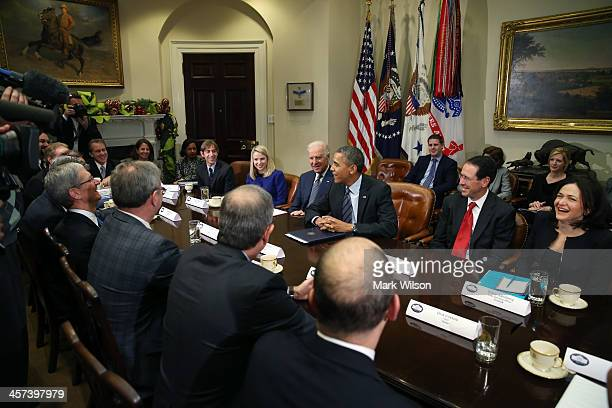 President Barack Obama and Vice President Joe Biden meet with executives from leading technology companies, including Apple, Twitter, and Google in...