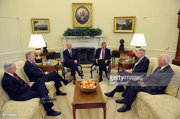 US President Barack Obama and Vice President Joe Biden meet with Senate Majority Leader Harry Reid DNV Minority Leader Mitch McConnell RKY Senate...