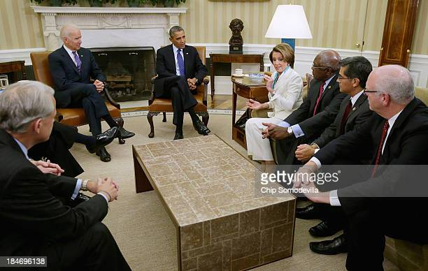 S President Barack Obama and Vice President Joe Biden meets with House Democratic leaders including Minority Leader Nancy Pelosi Minority Whip Steny...