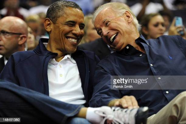 S President Barack Obama and Vice President Joe Biden share a laugh as the US Senior Men's National Team and Brazil play during a preOlympic...