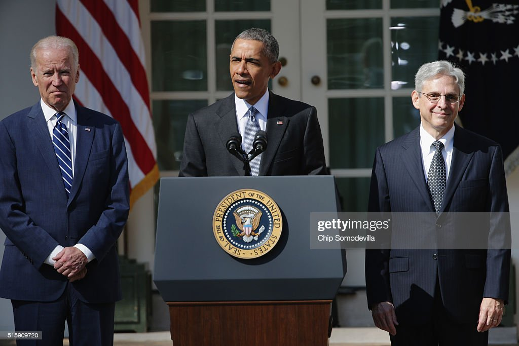 U.S. President Barack Obama and Vice President Joe Biden stands with Judge Merrick B. Garland, while nominating him to the US Supreme Court, in the Rose Garden at the White House, March 16, 2016 in Washington, DC. Garland is currently the chief judge on the United States Court of Appeals for the District of Columbia Circuit, and if confirmed by the US Senate, would replace Antonin Scalia who died suddenly last month.