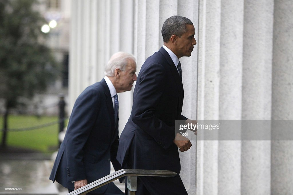 U.S. President Barack Obama (R) and Vice President Joe Biden walk from the White House to the Treasury building for a farewell party for Treasury Secretary Tim Geithner on January 16, 2013 in Washington, DC. Geithner is set to depart office on January 26 and will be replaced by White House chief of staff Jack Lew.